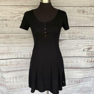 VANS Black Short Sleeve Ribbed Knit Skater Dress
